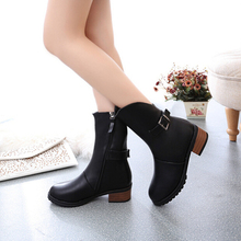 W91855A 2015 women autumn winter half boots ladies middle heel boots shoes