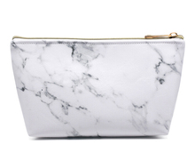 Wholesale Stock Trendy Large Capacity Cosmetic Bags Graphic Marble Travel PU makeup bag With Custom Logo