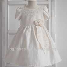 Leaf design ribbon ivory hot sale clothes with embroidery baby dress 2013