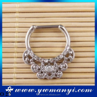 Gold Silver Plated fake septum Piercing Body Jewelry Hoop Nose Ring 2016 O 27