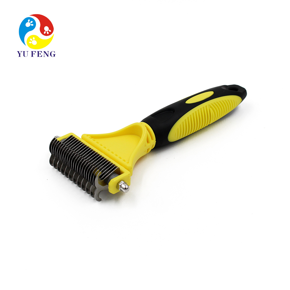 Self Cleaning Grooming Deshedding Tool for Short to Long hair Dogs Cats Yellow Color