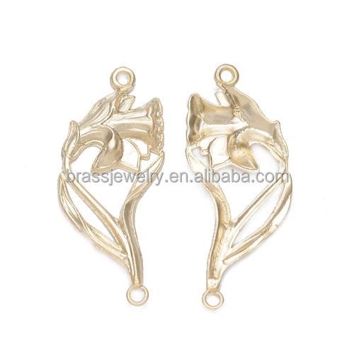 Beautiful DIY Jewelry Parts 18K Gold Plated Brass Charms Flower Shape Jewelry Connector Wholesale