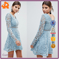 2018 design your own girls summer lace long sleeve skater dress with lining
