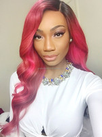 Top Beauty Factory Price Pink Color 22 Inch Wavy Brazilian Human Hair Wig