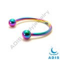 Anodized surgical steel horseshoe body piercing rainbow nose stud