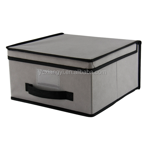 Cheap & Portable Bamboo foldable non woven fabric storage box with lid and black handle for China supplier Small size