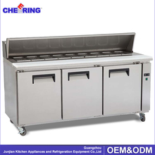 Fan cooling electric stainless steel horizontal refrigerator / refrigerated pizza prep table / under table refrigerator