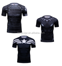 2016 custom 3d printed sublimation superhero t shirt compression tights male