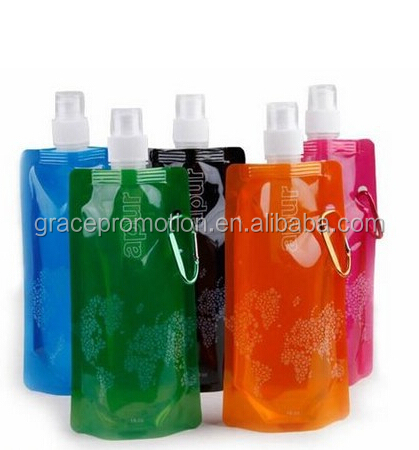 2014 new beautiful Cheap Plastic Fashional Foldable Sport Water Bottle With Spout