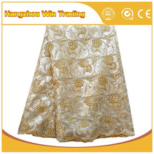 2016 New Concept Wonderful African French Net Lace Fabric Wholesale/ Gold Sequin Cord Lace/ Loving Nigeira Wedding Lace