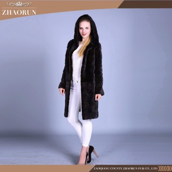 Ladies Winter Long Fur Coat Winter Mink Fur Coat Original Color Real Mink Coats
