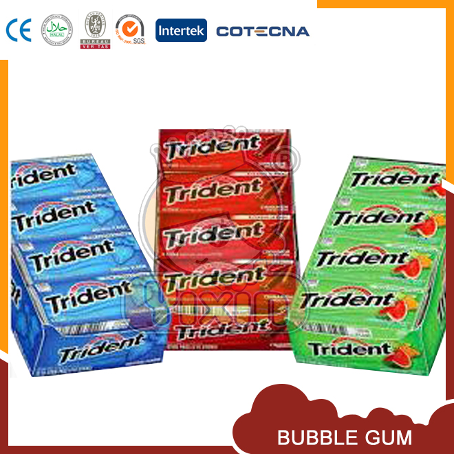 Smile face chewing trident gum