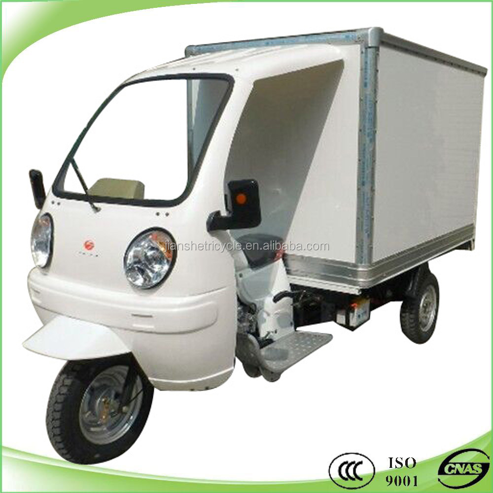 new design closed box delivery motor cargo trike made in china