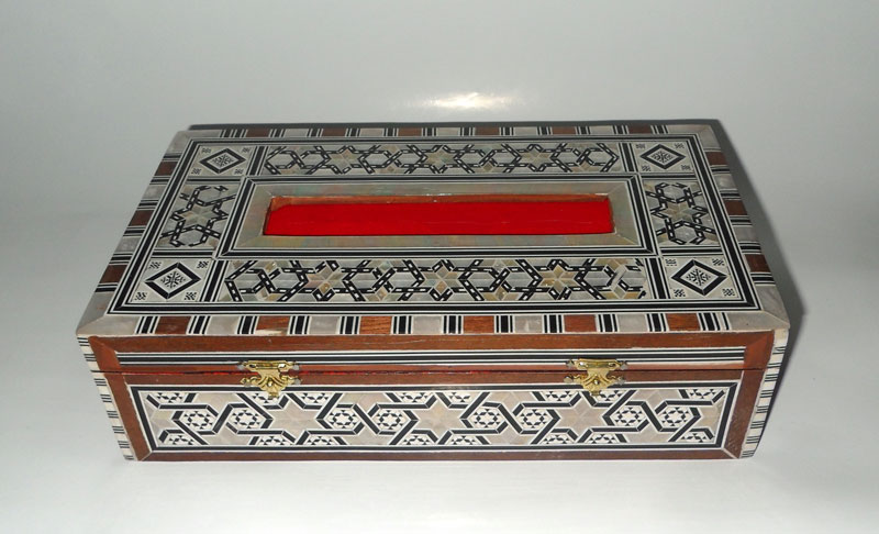 Wood Tissue Box, Mother of Pearl inlaid Tissue box
