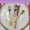 QT00014 plain wedding gold plated flatware gold cutlery knife, fork, spoonge