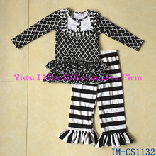 Wholesale Children Fall Spring Outfits Western Girls Boutique Cotton Clothing Sets with Ruffles