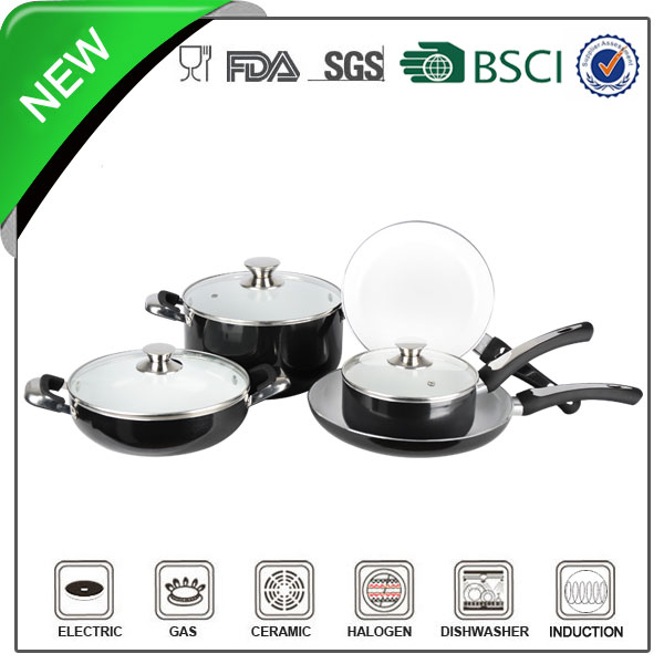 7pcs aluminum cookware sets white ceramic