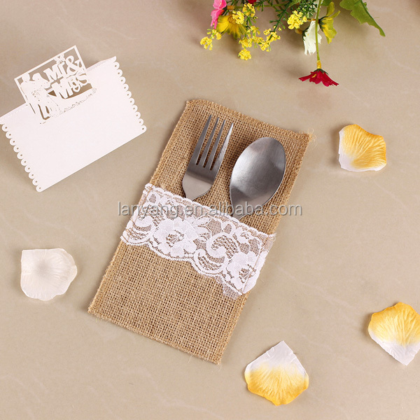 Rustic Style Burlap Silverware Holder With White Lace 2015 Alibaba China Wholesale (BF940_3)