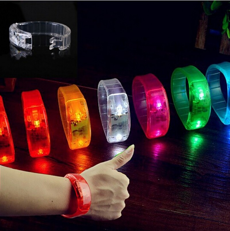 2017 Most Popular Multicolor Voice Activated Sound Control Led Flashing Bracelet Bangle Wristband for Night Club Activity Party