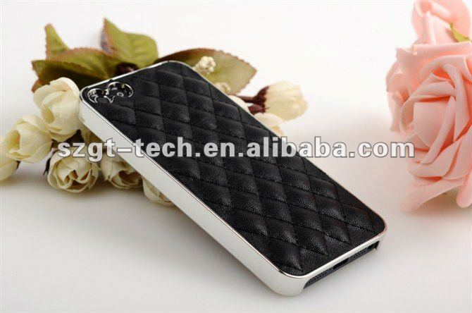 Genuine Sheep Leather Cover Case for Apple iPhone5 5G,Chrome Back Cover,Hard Cover,OEM/ODM,PayPal