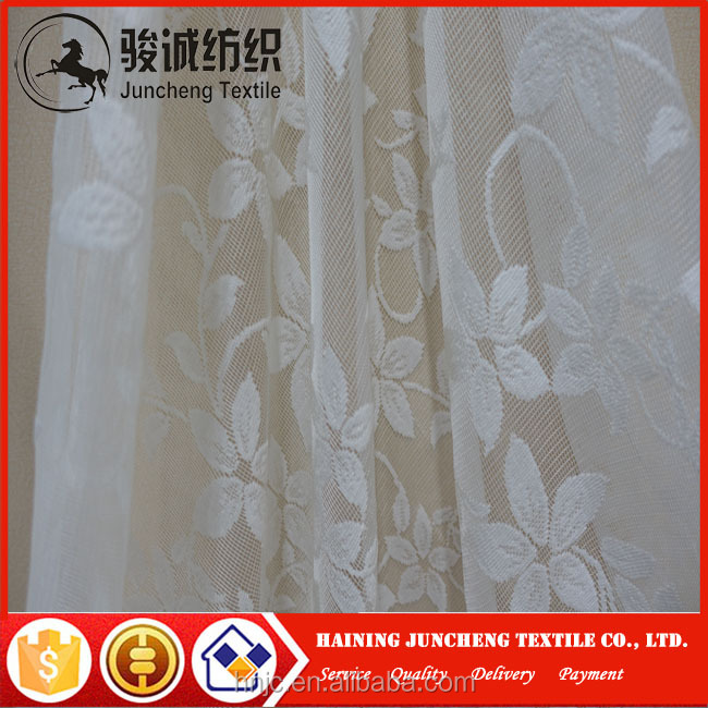 Cheap price polyester embroidery sheer curtain fabric