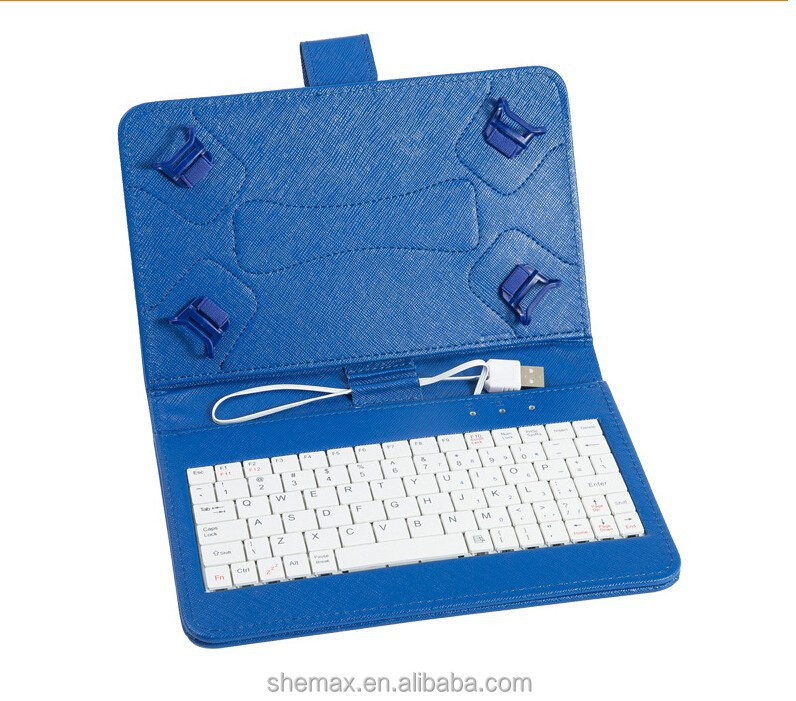 "UNIVERSAL KEYBOARD LEATHER CASE WITH HOOK FOR 7"" TABLETS PC MICRO USB CONNECTION"