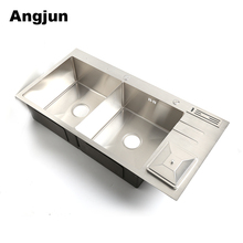 Best price Double Deep Bowl stainless steel square Kitchen Washing Basin With Trash sink tray with drainboard
