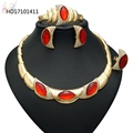 2018 African Fasion Orange Rhinestone Costume Jewelry Alloy Jewelry Sets for Women