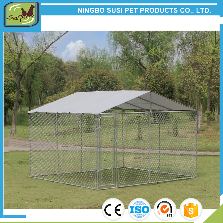 Outdoor Galvanized Steel Fencing Pet Kennel with Roof Shade-3mx3mx2.32m