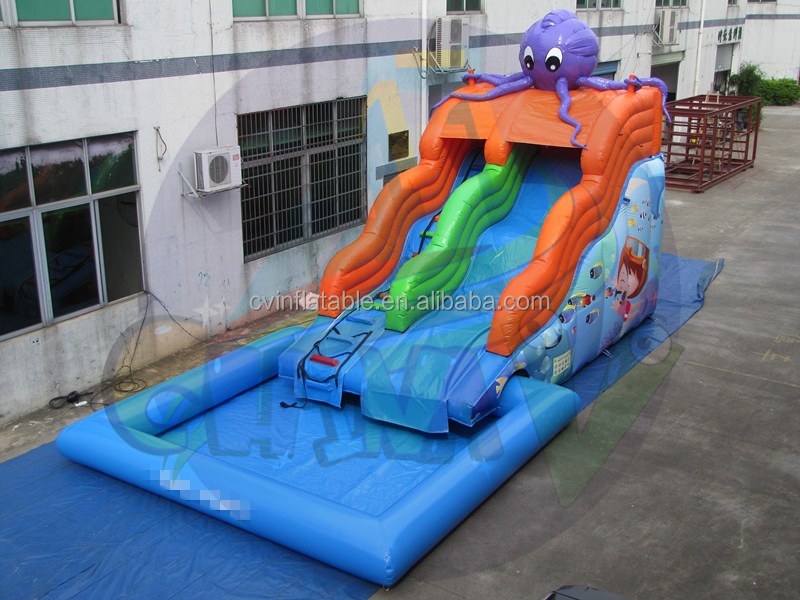 Commercial inflatable Octopus Water Slide, inflatable waving water pool slides, kids inflatable slide n swimming pool combo