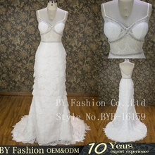 Newest design fashion lace evening dresses spaghetti strap elegant sexy wedding long gowns for women