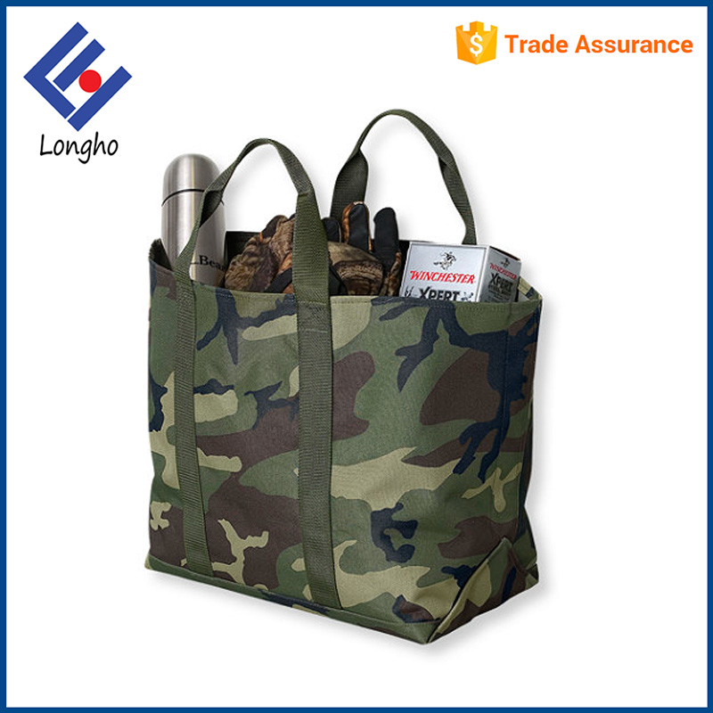 Thermoplastic interior coating super market bag double stitched seam heavy duty camouflage shopping bag