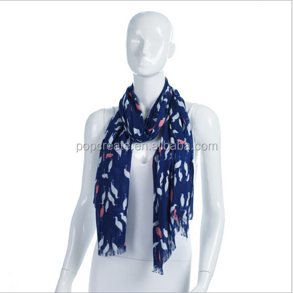 The new Red-crowned crane design cotton scarf