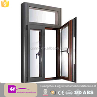aluminum alloy windows with outside golden color Aluminum blinds/can be inside