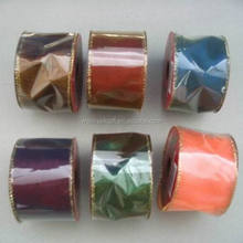 2.5 inch Width Wire Gold Trim Christmas Gift Wrapping Ribbon