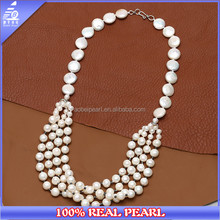 Genuine White Freshwater Cultured Pearls Necklace,Strands Peals Jewelry