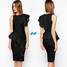 Stylish Lady Women's Casual Slim Sleeveless O-k Lotus Pleated Dress