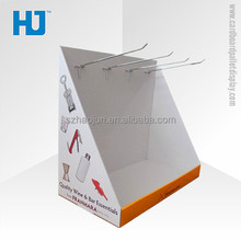 Customized cardboard counter display box with hooks for key chain