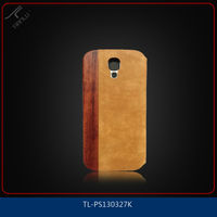 Top grade wood+pc+pu case for Sumsung galaxy S4/flip cover for Samsung galaxy S4 i9500