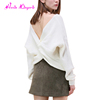 Guangzhou factory white long sleeve cashmere 100% latest design ladies sweater