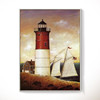 Lighthouse Wall Decor Artwork/Coastal Canvas Paintings/Vintage Canvas Printing Home Decoration
