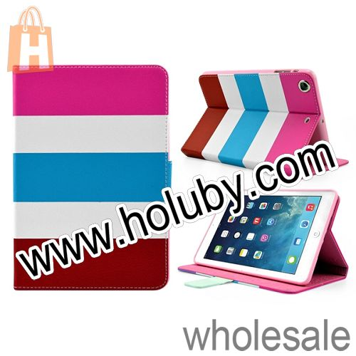 Colorful Horizontal Stripe Magnetic Stand Side Flip Leather Case for iPad Mini 2 Retina/iPad Mini