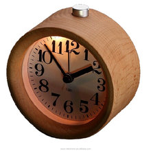 ESUN Creative Small Round Classic Wood Silent Desk Travel Alarm Clock With Nightlight