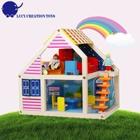 Children DIY 2-Storey Wooden Toy Colorful Doll House with Furniture