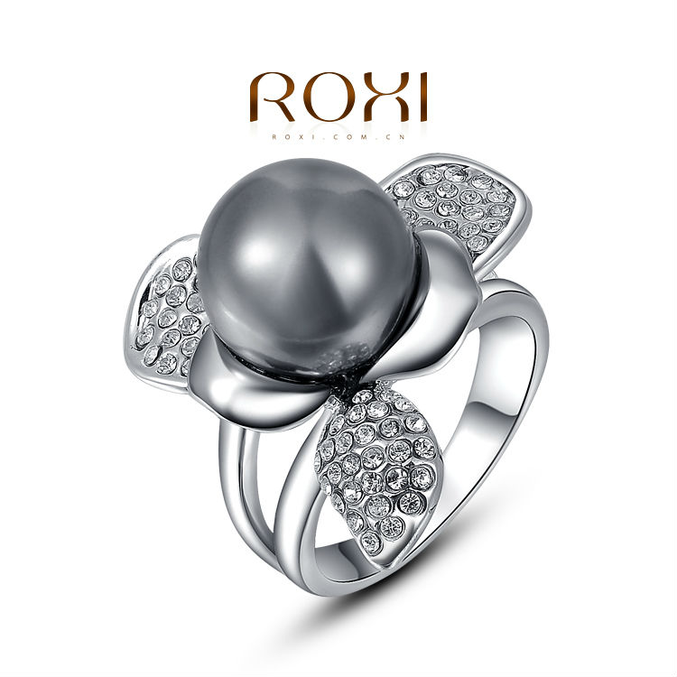 ROXI platinum black pearl engagement rings for women jewelry