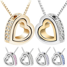 Free Shipping Mexican Style Sliver Double Heart Pendant Necklace Heart Necklace