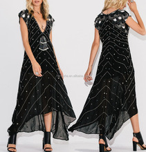 Boho Clothing Chiffon Maxi Embroidered Beaded Long Maxi Dress Ladies Women Clothes sexy girl photos without dress HSD5815
