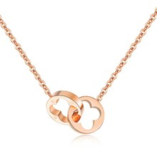 Marlary Stainless Steel Women Necklace Rose Gold Double Circle Pendant
