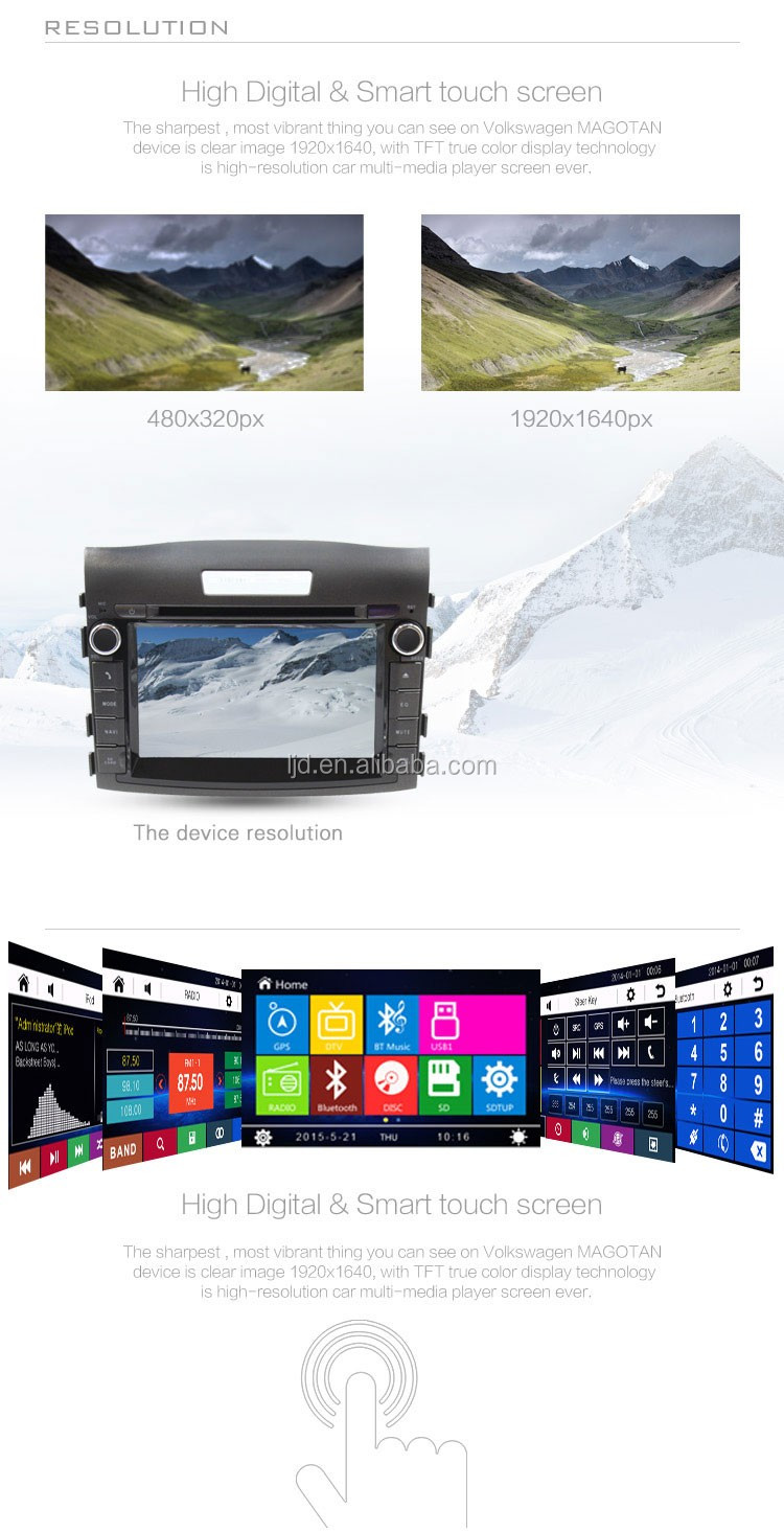 CE ROHS Certification HD screen wince car gps dvd player for Hond a 2012 C RV dashboard placement with rearview camera