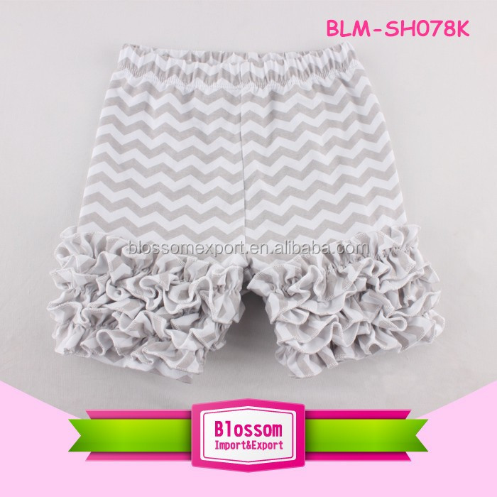 Top Selling Summer Kids Clothes Boutique Cotton Toddler Girls Multicolored Ruffled Shorts Children Icing Ruffle Shorts Wholesale